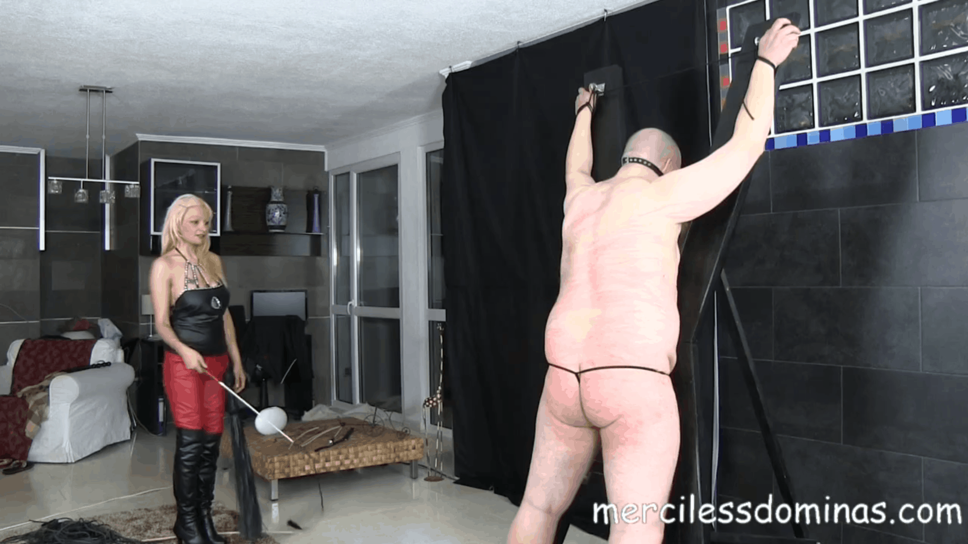 Lady Zsi Whips Her Fat Slave